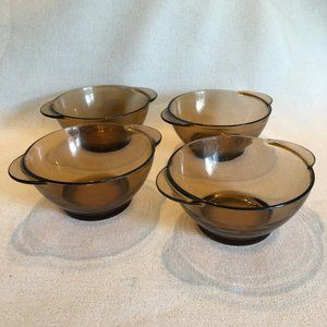 Duralex Brown Smoked Glass Bowls Set of 4 Vintage